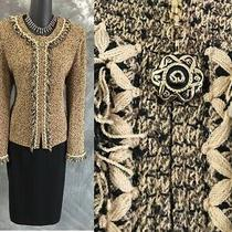 Beautiful St John Collection Knit Beige Black Fringe Jacket Skirt Suit 8 10 Photo