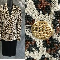 Beautiful St John Collection Knit Jacket Beige Black Brown Suit Blazer Size 8 Photo
