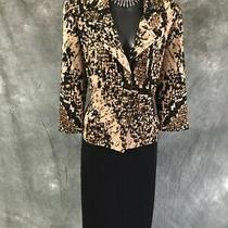 Beautiful St John Collection Knit Jacket Black Beige Tan Suit Blazer Size 10 Photo