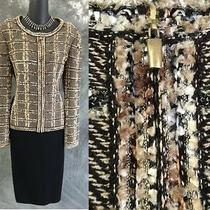 Beautiful St John Knit Jacket Beige Black Fringe Suit Blazer Size 10 Photo
