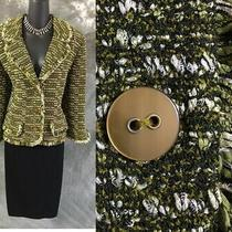 Beautiful St John Knit Jacket Green Fringe Suit Blazer Size 14 Photo