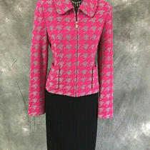 Beautiful St John Knit Jacket Pink Black White Suit Blazer Size 4 Photo