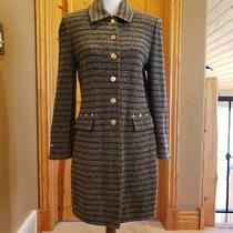 Beautiful St John Striped Blazer Olive Taupe Brown Size 8 Long Length Photo