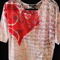 Beautiful Style & Co. (Macy's Brand) Heart Blouse With Rhinestones and Lace Photo