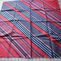 Beautiful Talbot's Silk Scarf Snazzy Maroon Blue and Black Diagonal Stripes Photo