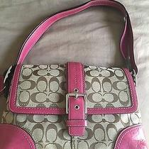 Beautiful Tan and Magenta Coach Purse  Photo
