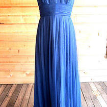 Beautiful Vera Wang Bridesmaid Wedding Strapless Navy Blue Gown Dress Size 12 Photo
