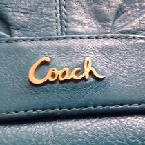 Beautiful Vibrant Teal Coach Wristlet/clutch/ Baguette Photo