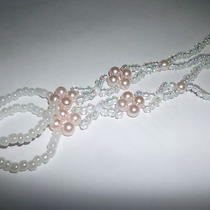 Beautiful Wedding Barefoot Sandals - White Mother of Pearl &  Pink Pearls Photo