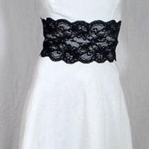 Beautiful White With Black Lace Strapless Wedding Party Retro Dress Photo