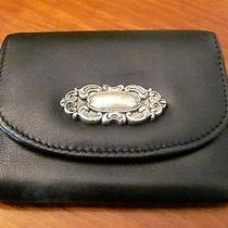 Beautiful Womans 'Fossil' Black Leather & Silver Hardware Sm Coin Purse Wallet Photo