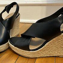 Beautiful Womens American  Eagle Wedge Sandal Black With Jute Heel Size 10 Euc Photo
