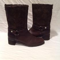 Beautiful Women's Stuart Weitzman Pimlico Brown Lacquered Knit Boot- Size 11.5 Photo