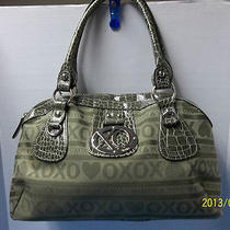 Beautiful Xoxo Hobo Handbag Purse Double Handle Olive Green Color Photo