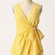 Beautiful Yellow Gingham Anthropologie Odille Top Size 4 Gently Worn Photo