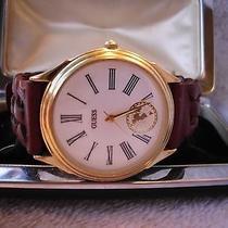 Beauty - Ladies Guess Quartz Watch - G/t Bezel - Bro Braided Leathr Band 13/379 Photo