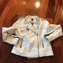 Bebe 2b White Faux Leather Studded Asymmetrical Jacket Size Large Motorcycle Photo