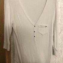 Bebe 3/4 Sleeve White Top Gold Buttons Size Large L Photo