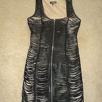 Bebe Addiction Genuine Leather Stripes Fitted Front Zipper Lined Dress S 320 Photo