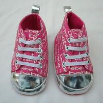 Bebe Baby Girls Pink Silver Shoes Size 3 New Bootie Fuchsia Slip on Freeship Photo