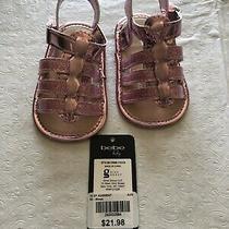 Bebe Baby New Nwt Sz 2 (3-6 Mth) Infant Girls Pink Sandle Shoe Glitter Photo