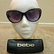 Bebe Bb7137 Lush Cat Eye Sunglasses 001 Jet Horn 54-17-135 New With Case Photo