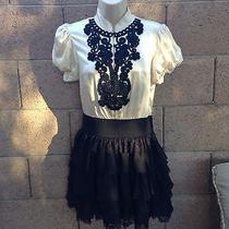 Bebe Beautiful Embroidered Silk Dress Size Small Photo