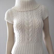 Bebe Beige Cream Angora Wool Blend Cropped Turtleneck Sweater Womens Sz Xs Photo