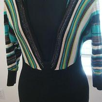 Bebe Black Aqua Stripe 3/4 Sleeve  Top S Photo