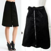Bebe Black Belted Corduroy a-Line Skirt New Nwt 119 Xsmall Xs Small S 4 Photo