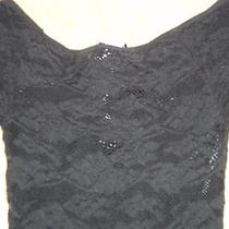 Bebe Black Bodycon See Through Floral Pattern front&back Dress to Waist Ps Nwt Photo