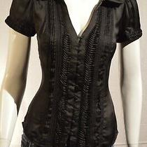 Bebe Black Button-Up Silk Top Size Extra Small Photo