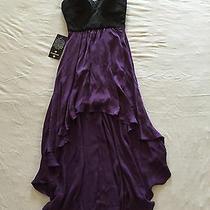 Bebe Black Crown Jewel/purple Hi-Lo Corset Top Maxi Dress Xxs Photo