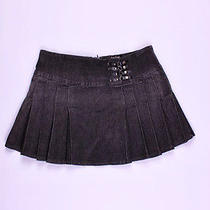 Bebe Black Distressed Pleated Denim Mini Skirt M 8/10 Photo