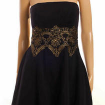 Bebe Black Gold Embroidery Strapless Skater Fit & Flare Mini Corset Dress S Photo