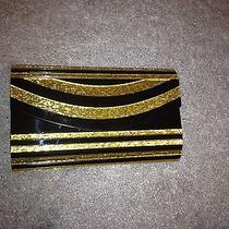 Bebe Black Gold Resin Clutch Holiday Photo