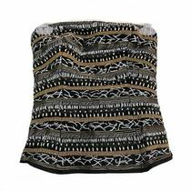 Bebe Black Gold Silver Embroidered Beaded Bead Strapless Corset Style Top Small Photo