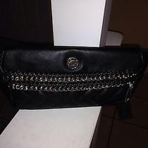 Bebe Black Jenny Leather Quilted Clutch Handbag  Gold Hardware Nwt New Photo