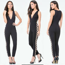 Bebe Black Lace Up Side Crisscross Knit Jumpsuit New Nwt 139 Xxsmall Xxs 00 Photo