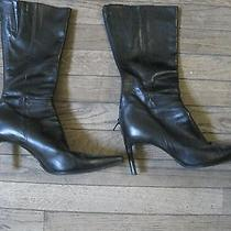 Bebe Black Leather Boots Booties Pointy-Toed Size 8 Womens Photo