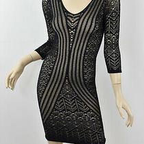Bebe Black & Nude Illusion Stretch Lace Mesh Net Bodycon Mini Dress S Small Photo