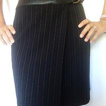 Bebe Black Pin Striped Wrap Skirt W/ Leather Trim Size 0 Photo