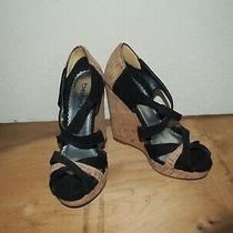 Bebe Black Platform Wedge Heel Shoes Women Size 5.5m Photo
