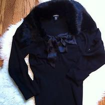 Bebe Black Rabbit Fur Collar Sweater S Photo