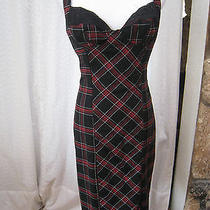 Bebe Black & Red Wool Plaid Retro Lace Fitted Corset Cocktail  Dress Small Photo