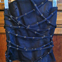 Bebe Black Satin Bustier Corset Top With Straps Size Xs Photo