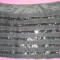 Bebe Black Sequin & Pleated 100% Silk Mini Skirt Size Medium Free Shipping Photo