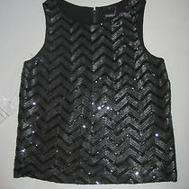 Bebe Black Sequin Tank Faux Leather Sequins Size Small Nwt Photo