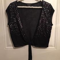 Bebe    Black Shrug Bolero Open Tie Sleeveless Sequins Sequined Blingtop Photo