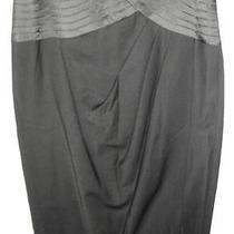 Bebe Black Stretch Wool Pleated Faux Wrap Pencil Skirt W/ Satin Trim (0) New Photo